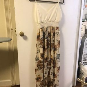 White and Floral high/low dress